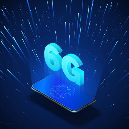 High speed 6G global mobile networks. Business isometric illustration smartphone with internet hologram and text 6g. Modern data transfer. Wireless technology. 向量圖像