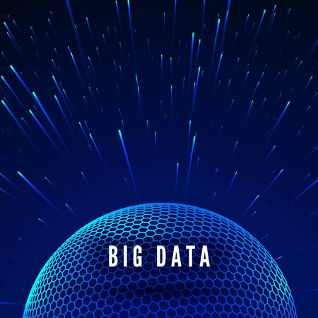 Big data visualization. Data streams around global network. Futuristic technology blue background. Vector illustration