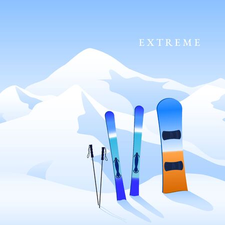 Ski resort. Skiing and snowboard on hillside and mauntins landscape. Extreme activity banner. Vector