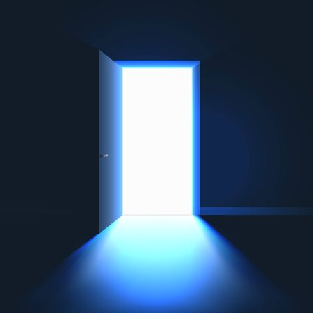 Open Door in dark room symbol of hope solution or opportunity. Light in room through open door. Vector illustration