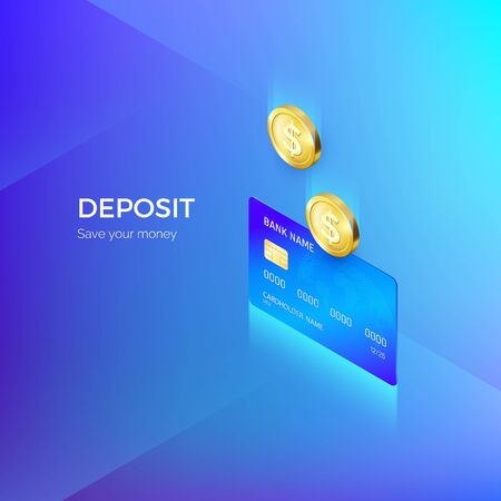 Coin drops into credit card isometric banner. Banking or payment service. Deposit replenishment and saving money. Vector illustration
