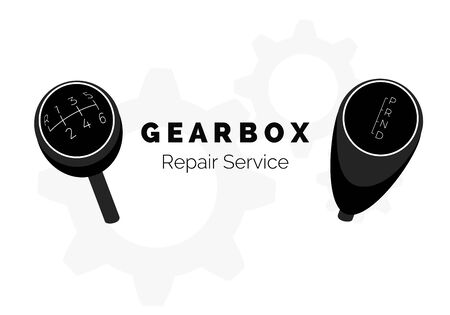 Gearbox repair service advertising. Vehicle Gear Knob. Manual and automatic car transmission. Vector illustraion