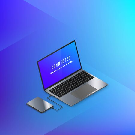 Hard Disk Drive connected to laptop isometric banner in blue colors. Technology background. Vector illustration