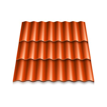 Modern roof coverings. Corrugated roof tile. Vector illustration isolated on white background