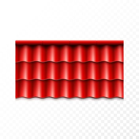 Modern roof coverings. Red corrugated roof tile. Vector illustration isolated on transparent background