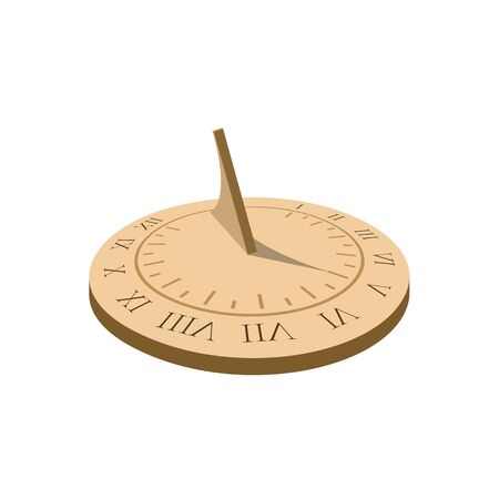 Sundial. Ancient sun clock with roman numbers. Vector illustration