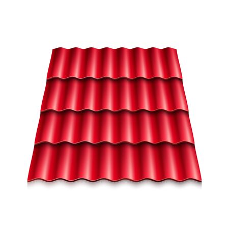 Red corrugated roof tile. Modern roof coverings. Vector illustration isolated on white background