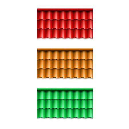 Set of corrugated roof tile. Modern roof coverings. Vector illustration isolated on white background Vecteurs