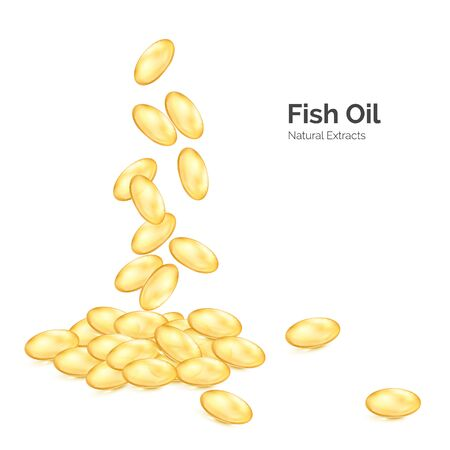 Fish oil omega 3. Transparent capsules with nutrition supplement. Fallen pills yellow color. Vector illustration isolated on white Illustration