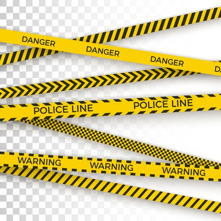 Police yellow tape. danger zone with line barrier. Warning strip. Vector