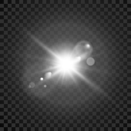 Star burst. Transparent glow light effect. Star burst. Bright flash with lens effect. Vector Ilustração Vetorial