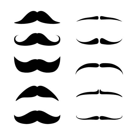 Mustaches set. Black silhouette of adult man moustaches. Vector illustration isolated on white