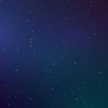 Starry sky color background. Dark night sky. Infinity space with shiny stars. Vector Ilustração