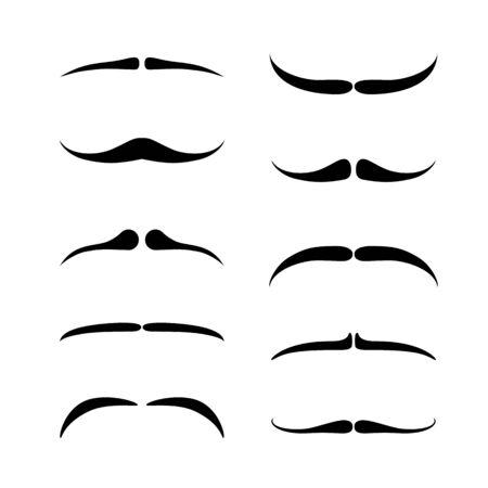 Slim Mustaches set. Black silhouette of adult man moustaches. Vector illustration isolated on white Ilustração