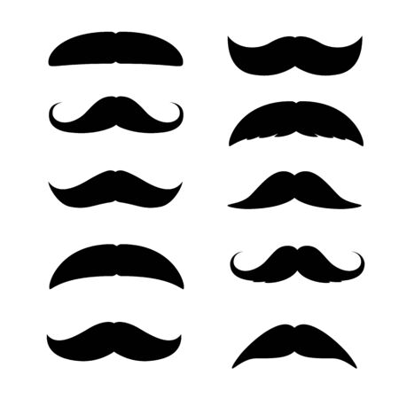 Set of Mustaches. Black silhouette of adult man moustaches. Vector illustration isolated on white