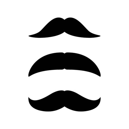 Set of Mustaches. Black silhouette of moustaches. Vector illustration isolated on white Ilustração