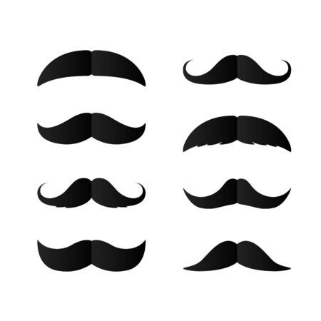 Set of Paper Mustaches. Black silhouette of moustaches. Fathers day decorative element. isolated vector