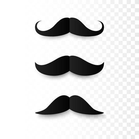 Set of Paper Mustaches. Black silhouette of moustaches. Fathers day decorative element. isolated vector illustration  Vectores