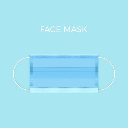 Realstic medical face mask top view. Protection health from virus and respiratory infection. Vector