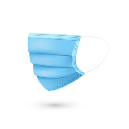 Blue breathing respiratory mask. Medical face mask. Health care issue. Viruses and disease protection. Vector  Ilustração
