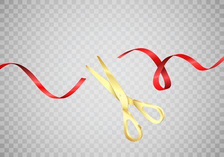 Golden scissors cut red silk ribbon. Start celebration. Grand opening ceremony. Vector realistic illustration isolated