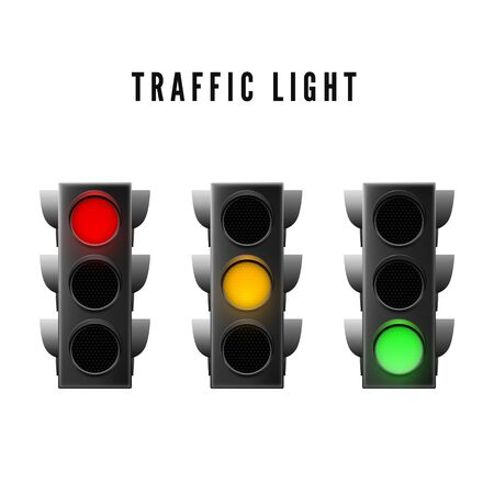 Realistic traffic light. Red yellow and green traffic signal. Isolated vector illustration Ilustração