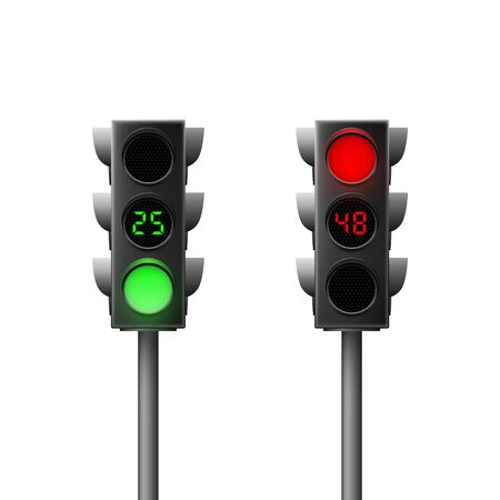 Realistic green and red traffic lights with countdown. Traffic Laws. Isolated vector illustration