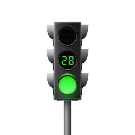 Realistic green traffic light with countdown. Traffic Laws. Isolated vector illustration