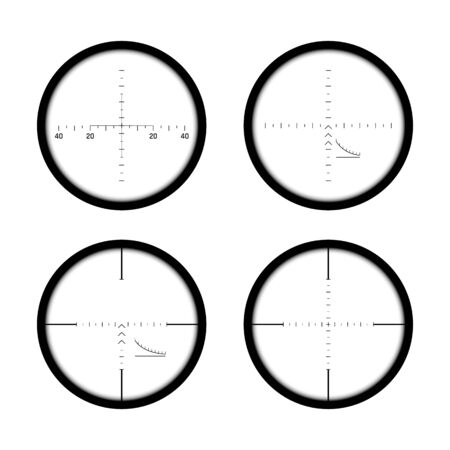 Set of sniper gun scopes. Focus on target. Binocular with measuring scale. Vector illustration