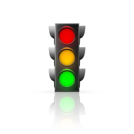 Realistic traffic light. Traffic Laws. Isolated vector illustration