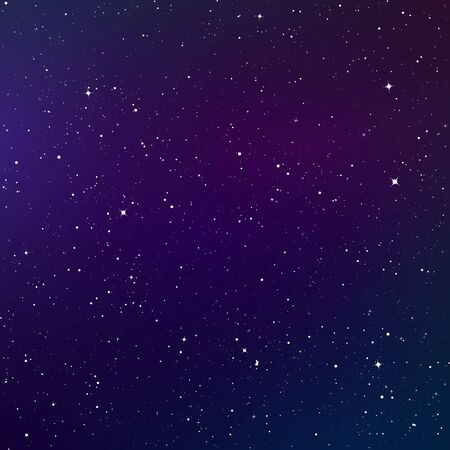 Dark night sky. Starry sky color background. Infinity space with shiny stars. Vector illustration