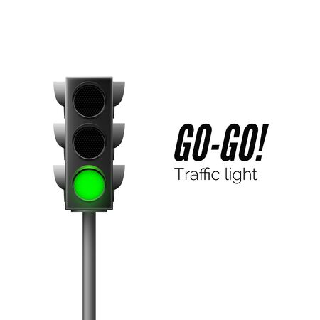 Realistic green traffic light. Traffic Laws. Go - business concept. Isolated vector illustration