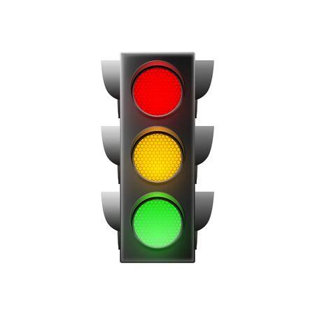 Traffic light isolated on white background. Vector illustration  Ilustração