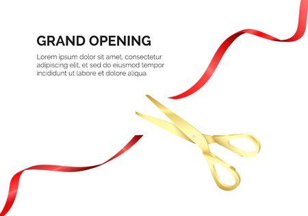 Golden scissors cut red silk ribbon. Grand opening ceremony. Start celebration. Vector realistic illustration isolated on white