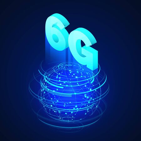 High speed 6G global mobile networks. Business isometric illustration global network hologram and text 6g. Wireless web banner. Modern data transfer technology. Vector illustration