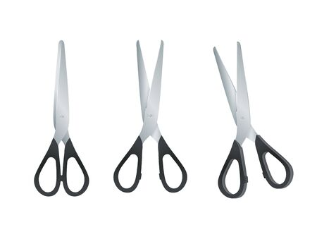 Scissors with black plastic handles. open and closed scissors isolated on white background. Vector Ilustração