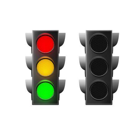 Realistic traffic light. Traffic Laws. Vector illustration isolated on white background Ilustração