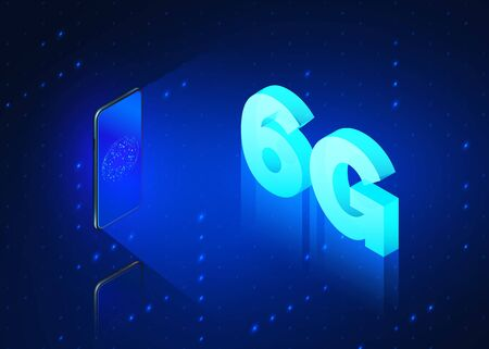 6g fast mobile networks. Mobile phone with global network on screen and hologram of wireless networks with text 6G isometric banner. Vector illustration