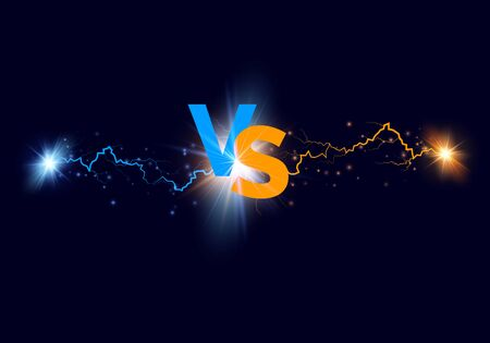 Versus background. Blue and orange forces lights with text VS. Vector illustration