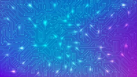 Color Circuit board texture for banner. Abstract technology background. Electronic motherboard connection lines and signals. Vector illustration