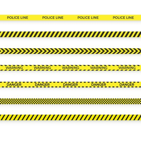 Set of police yellow tape. danger zone with line barrier. Warning strip. Vector