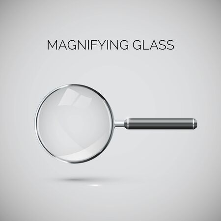 Magnifying glass with metal frame and black handle. Realistic style illustration. Vector