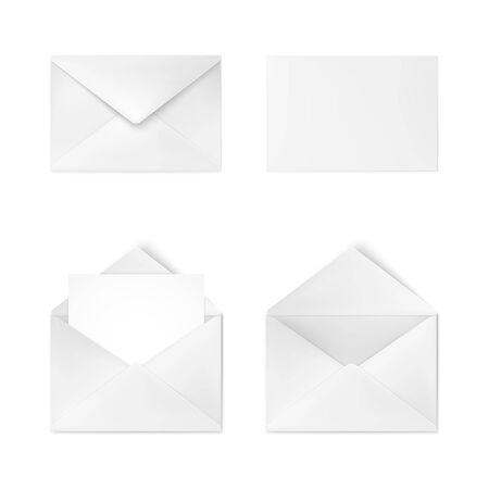 Realistic white envelope. Business mail. Corporate identity envelope mock up. Vector illustration