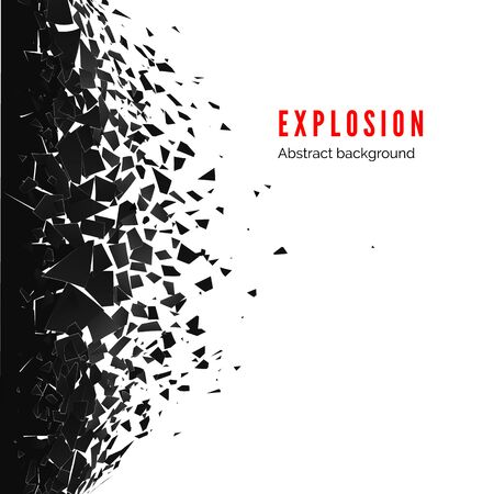 Abstract cloud of pieces and fragments after wall explosion. Demolition black wall. Shatter and destruction effect. Vector illustration