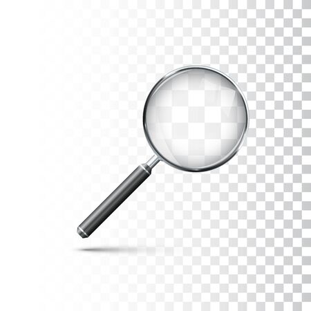 Magnifying glass with metal frame and black handle. Realistic style icon. Vector illustration isolated on transparent background