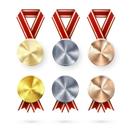 Golden Silver and Bronze medals with laurel hanging on red ribbon. Award symbol of victory and success. medals set. vector illustration Ilustração