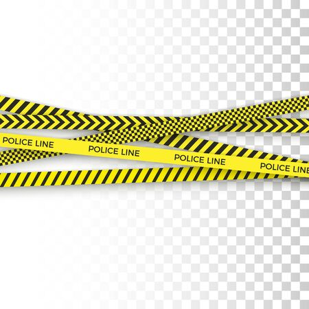 Police yellow tape. danger zone with line barrier. Warning strip. isolated Vector illustration