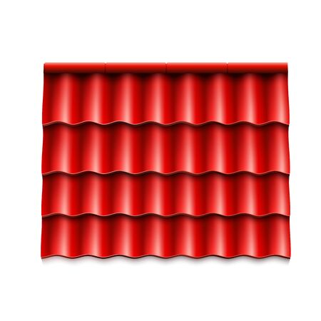 Modern roof coverings. Red corrugated roof tile. Vector illustration isolated on white background