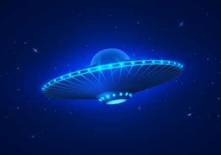 UFO in dark blue night sky. Vector illustration Ilustração