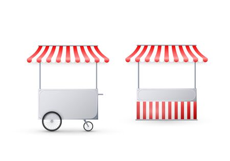 Cart with awning. Mobile street food delivery. Shop on wheels. Vector illustration isolated on white